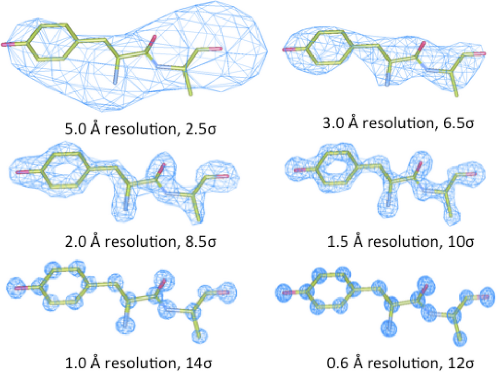 Different electron density maps at differing resolutions