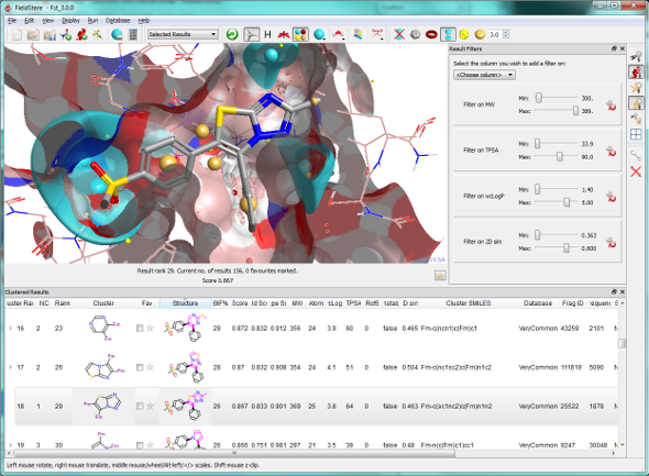 Screenshot of FieldStere 3 showing transparent surfaces around COX-2 protein and a novel suggested bioisostere for Rofecoxib