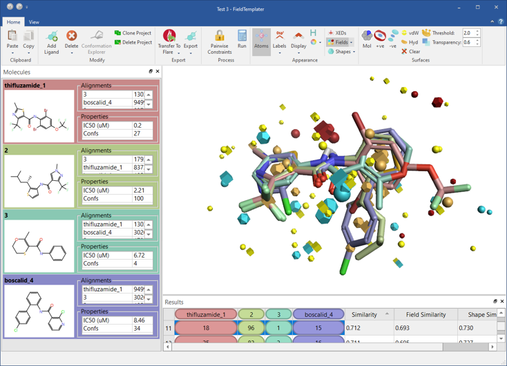 Figure 7: FieldTemplater accurate field pharmacophores enable you to work in 3D even when protein structure information is not available for your target.