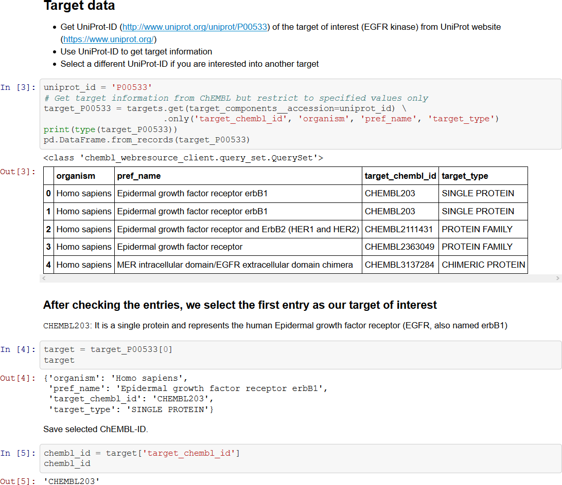 Excerpt from a Jupyter Notebook teaching how to extract data from ChEMBL using its Python API