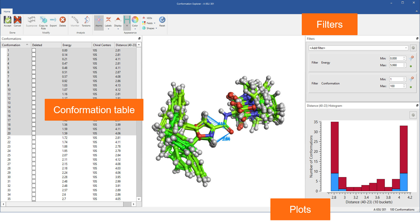 Figure 8: Use the Conformation Explorer to inspect and analyze conformation populations generated in Flare.