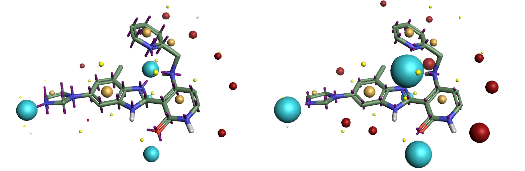 Figure 2. Electrostatic potential obtained using Astex-DNN and XED charge models