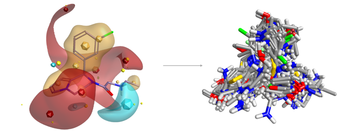 Figure 2: Blaze search using a known A2C adrenergic agonist as query retrieves a wide diversity of novel structures including many known actives.