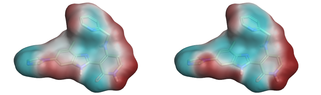 Figure 3. ESP surfaces calculated using Astex-DNN and XED charge models