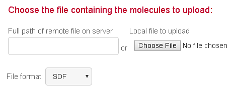Choose file containing molecules to upload