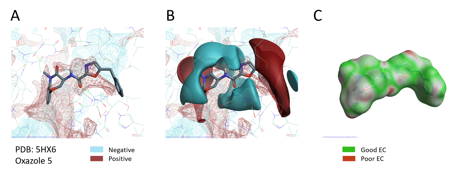 Figure 6_ PIPs of RIPK1; PIPs of RIPK1 and with ligand electrostatic fields of oxazole 5; Electrostatic Complementarity of oxazole 5 to RIPK