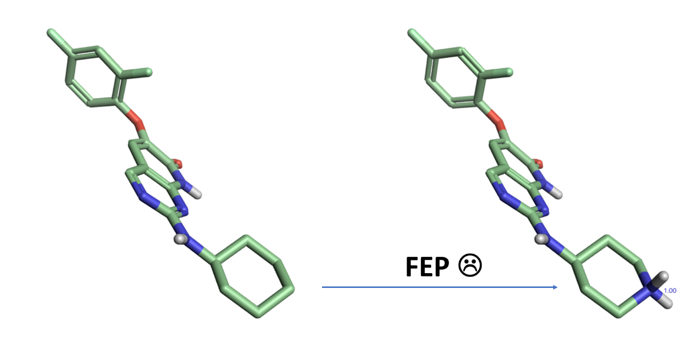 It is recommended that FEP calculations avoid transforming ligands with different formal charges