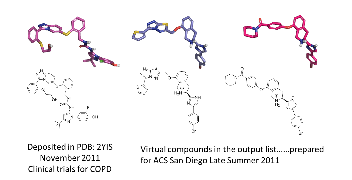 left P38 PDB 2YIS DFG-out inhibitor purple and middle and right two Spark output examples
