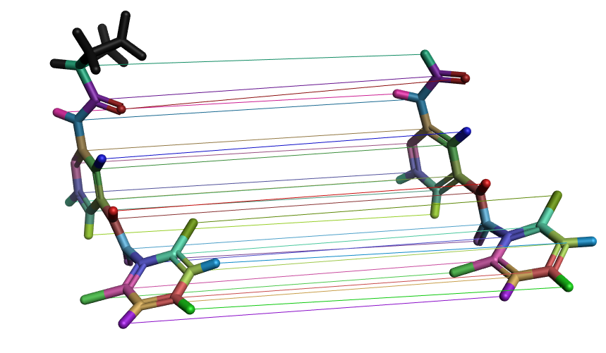 Visualization of atom mappings between a molecule pair in a FEP perturbation map