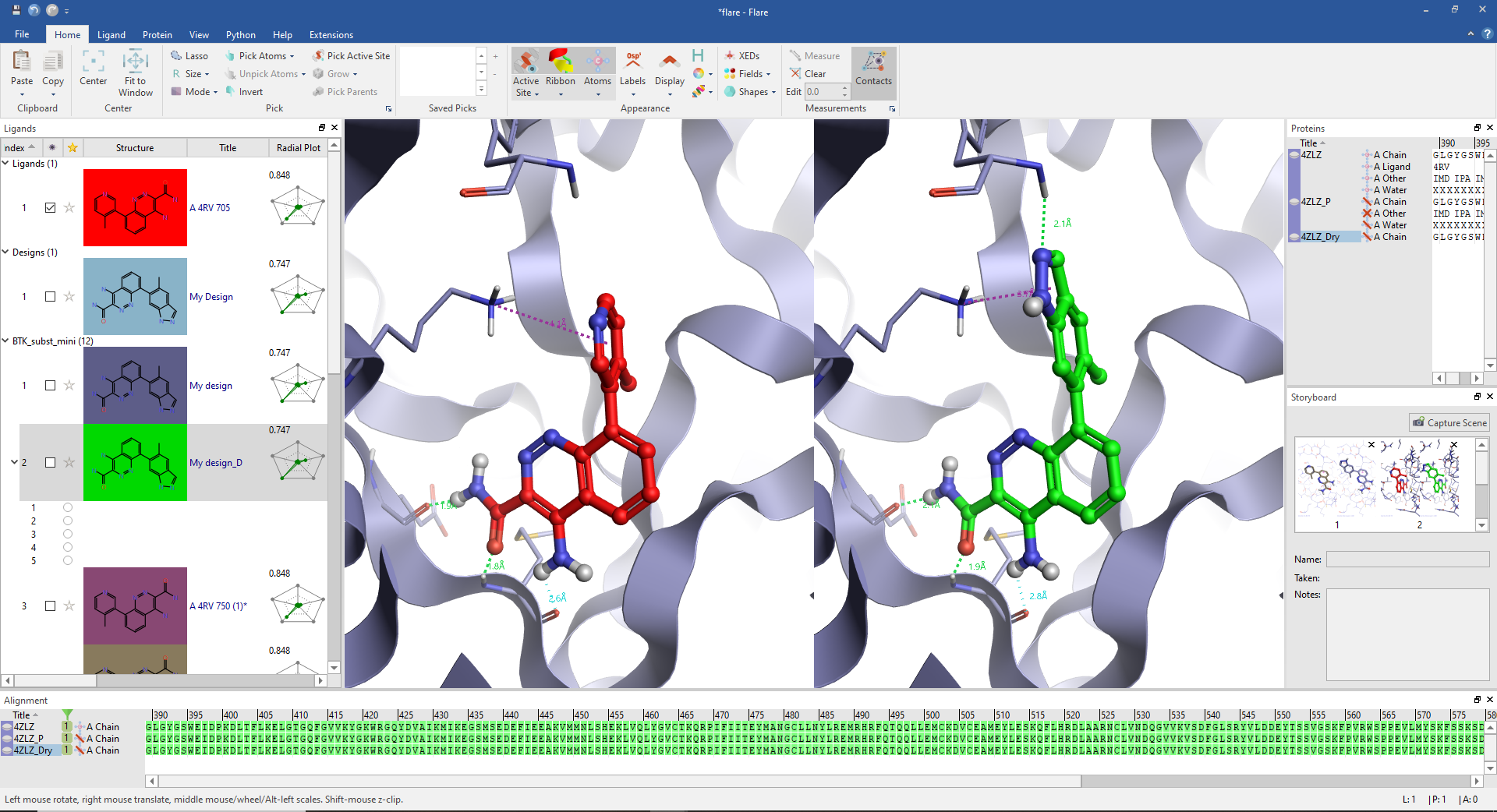 Results of a ligand docking in Flare for Academics
