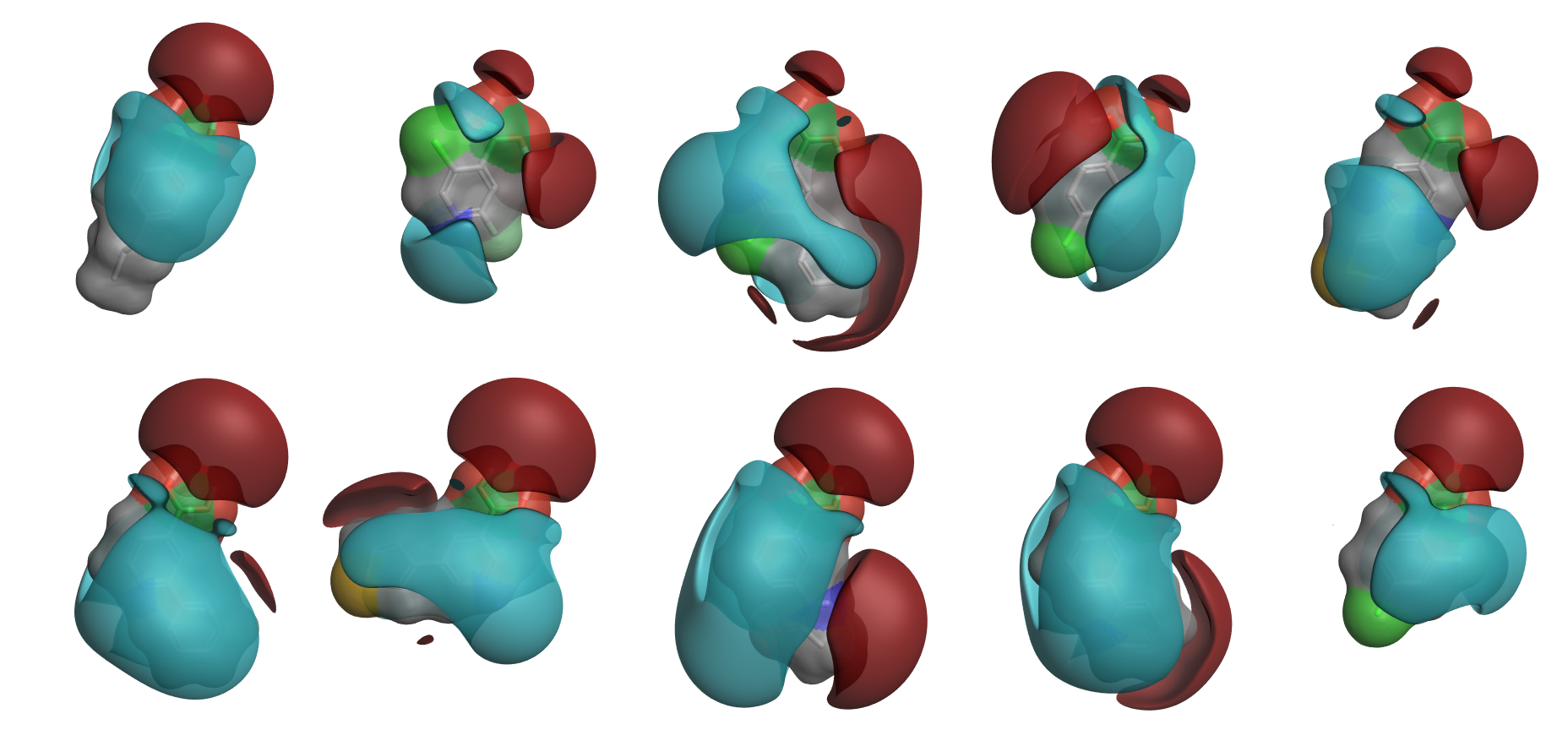 Medoids of the largest 10 clusters from running PickR on 5,500 boronic acids
