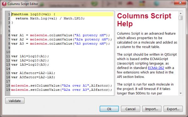 Columns Script Editor