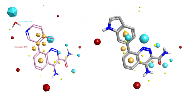 Compound 9 superimposed to starter molecule
