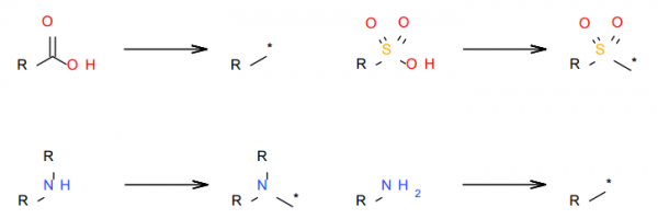 Example reagent processing rules for acids and amines