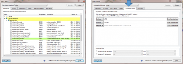 eMolecules reagent databases_left and Advanced Filters options_right